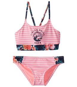 Roxy Girls' Waves Crop Bra Swimwear Set (Little Kid)