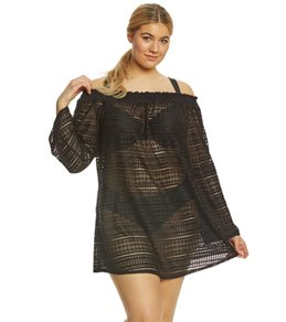 Kenneth Cole Reaction Plus Size To the Beat Off the Shoulder Cover Up Dress