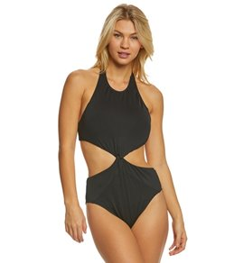 Carmen Marc Valvo Coastal Twist Halter High Neck One Piece Swimsuit