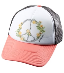 O'Neill Girls' Pineapple Peace Trucker Hat (Big Kid)