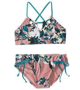 Splendid Girls' Watercolor Floral High Neck Bra & Tunnel Side Pant Set (Big Kid)