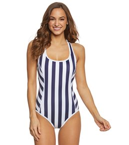 Tommy Bahama Women's Stripes Plunge Tank One Piece