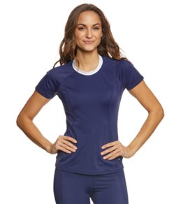 Tommy Bahama Women's SS 1/2 Back Zip Rashguard