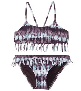 Hobie Girls' Tie Dyemonds Fringe Bralette and Hipster Swimwear Set (Big Kid)