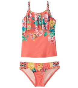 Hobie Girls' Petal Pusher Tankini and Sash Side Hipster Swimwear Set (Big Kid)