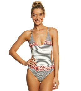 Vince Camuto Blossom Stripes Double Cross-Back One Piece Swimsuit