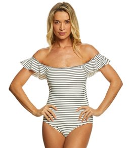 Vince Camuto Blossom Stripes Off The Shoulder One Piece Swimsuit