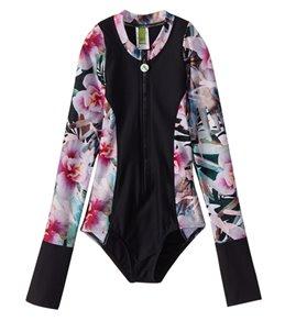 Next Girls' Undercover Tropics Long Sleeve Malibu One Piece Swimsuit (Big Kid)