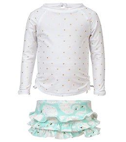 Snapper Rock Girls' Swan Long Sleeve Ruffle Set (Baby)
