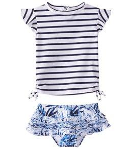 Snapper Rock Girls' Ombre Leaf Ruffle Swimwear Set (Baby)