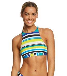 Nautica Coastline Stripe Cross-Back Bikini Top
