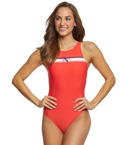Nautica Heritage High Neck One Piece Swimsuit
