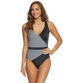 Longitude Mod Squad Faux Surplice One Piece Swimsuit