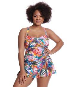 Lauren Ralph Lauren Plus Size Tropic Palm Skirted One Piece Swimsuit