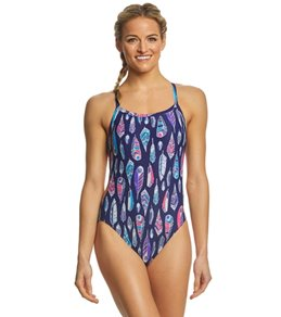 Arena Women's Feathers Challenge MaxLife Thin Strap Open Back One Piece Swimsuit
