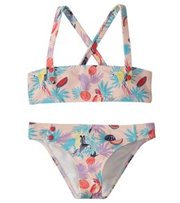 Roxy Girls' Vintage Tropical Bandeau Swimwear Set (Toddler, Little Kid)