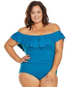 a5e5091146 La Blanca Plus Size Island Goddess Off The Shoulder One Piece Swimsuit