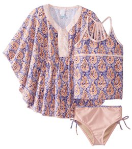3c3ecfffc682a Cabana Life Girls' Jaipur Swimsuit and Cover Up Set (Little Kid, ...