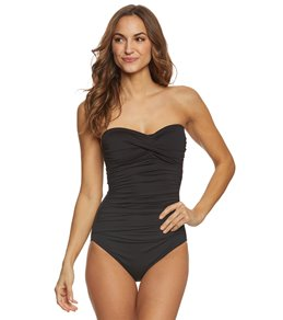 Anne Cole Twist Front Shirred One Piece Swimsuit