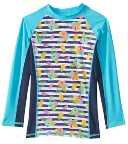 0d1d64eb Sporti Girls' UPF 50+ Paradise Stripe Colorblock L/S Sport Fit Rash Guard  Quick view. SALE