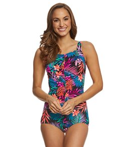 T.H.E. Mastectomy Tropicana Shirred Front Girl Leg One Piece Swimsuit