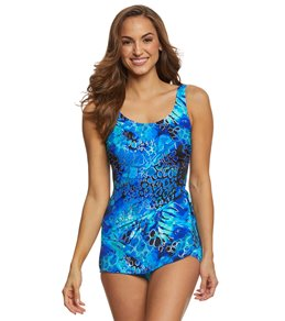 T.H.E. Mastectomy Liquid Blue Sarong Sheath One Piece Swimsuit