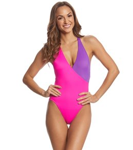 18174ae458006 Coco Rave Block Party Kelly Surplice One Piece Swimsuit