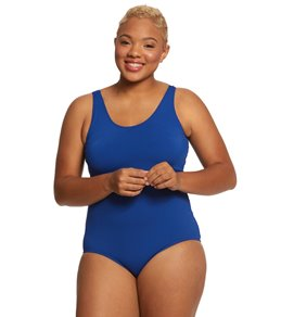 1eb176ef74ab6 Sporti Plus Size Gianna Chlorine Resistant Conservative Scoop Back Girl Leg  One Piece Swimsuit