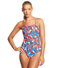 cb9f234dfb5 Arena Women's Shattered Glass MaxLife Sporty Thin Strap Racer Back One  Piece Swimsuit Quick view. Video