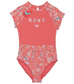 feddaa61f9 Roxy Girls' Bali Dance Cap Sleeves One Piece Rashguard Swimsuit (Toddler,  Little Kid