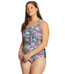 7ed03f80e10 Dolfin Women's Plus Size AquaShape Print Zip-Front One Piece Swimsuit