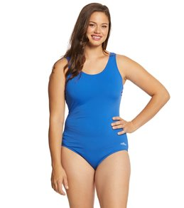 a3a70b94a5b Dolfin Women s Plus Size AquaShape Solid Moderate Scoop Back One Piece  Swimsuit