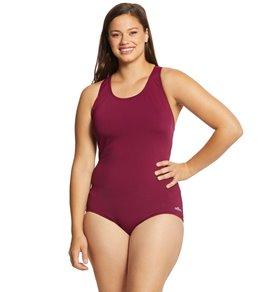 cee61c6725f Dolfin Women s Plus Size AquaShape Conservative Lap Suit Solid One Piece  Swimsuit