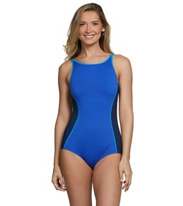 ca610aa156 Gabar Chlorine Resistant Color Block High Neck Mastectomy One Piece Swimsuit
