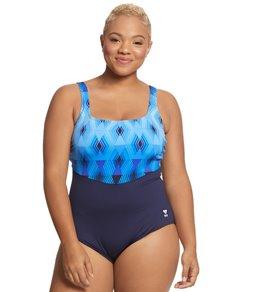 cba10d91500ca TYR Women s Plus Size Stirling Aqua Controlfit Chlorine Resistant One Piece  Swimsuit