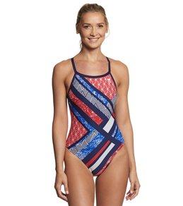 티어 여성 수영복 강습용 원피스 스윔수트 TYR Womens Supermo Diamondfit One Piece Swimsuit,Red/White/Blue
