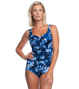 683bd45504e in Swim Dresses · Maxine In The Navy Shirred Girl Leg One Piece Swimsuit