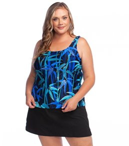 16b16ff89 Maxine Plus Size Bamboo Stripe Scoop Tankini Top