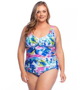 51e4a8a9637 Maxine Plus Size Potpourri Twist Front One Piece Swimsuit