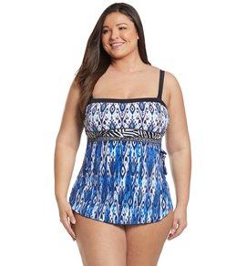 f403317bba9 Maxine Plus Size Safari Border Bandeau Sarong One Piece Swimsuit