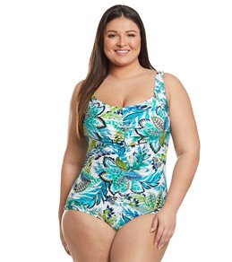 3de5c8edc810 Maxine Plus Size Nola Shirred Girl Leg One Piece Swimsuit