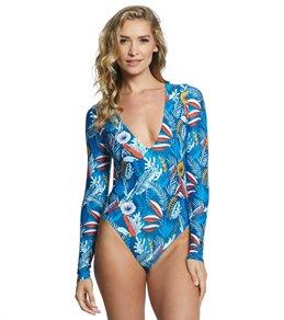 스피도 래쉬가드 원피스 올인원 수영복 Speedo Valentina Long Sleeve One Piece Swimsuit,Multi