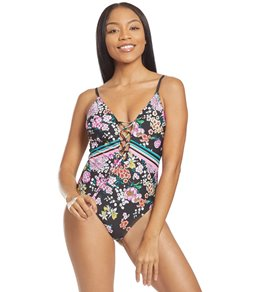 30b6008d499cb Kenneth Cole Reaction Bloomin Beauty Floral Lace Front One Piece Swimsuit