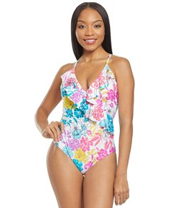 7ff46e53dd Kenneth Cole Reaction Paint The Garden Ruffle One Piece Swimsuit