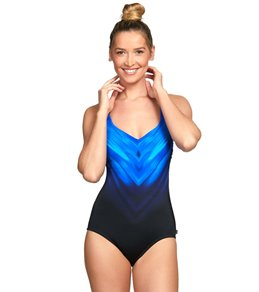 470d6e34b78fd Reebok Chevron Shield Vneck Chlorine Resistant One Piece Swimsuit