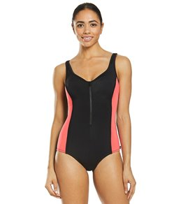 0a090545860ab Reebok Women's Colorblock Zip Front Chlorine Resistant One Piece Swimsuit