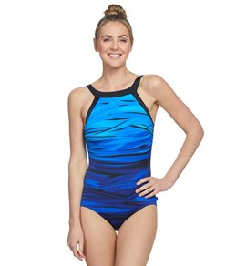 d20aa2c35c4f4 Reebok Women's Core Essence High Neck Chlorine Resistant One Piece Swimsuit