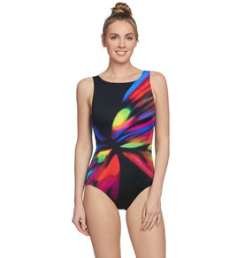 a495633236ff0 Reebok Women's Moonstruck High Neck Chlorine Resistant One Piece Swimsuit