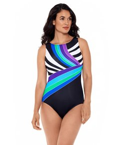 e744e0d8f7827 Reebok Women's Retro Lines High Neck Chlorine Resistant One Piece Swimsuit