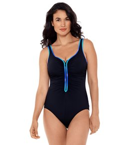 bc263ad42e36c in High Neck. Reebok Women's Sunglow Zip Front Chlorine Resistant One Piece  Swimsuit